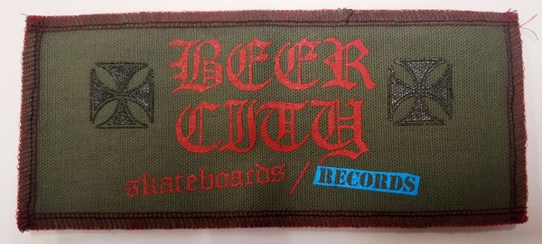 "Beer City Skateboards Large 8.5"" x 3.5"" Patch Army"