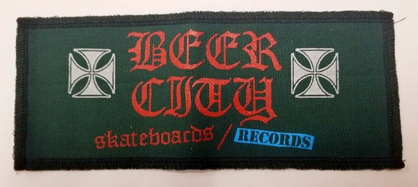 "Beer City Skateboards Large 8.5"" x 3.5"" Patch Dark Green"
