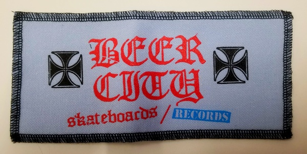 "Beer City Skateboards Large 8.5"" x 3.5"" Patch Light Blue"