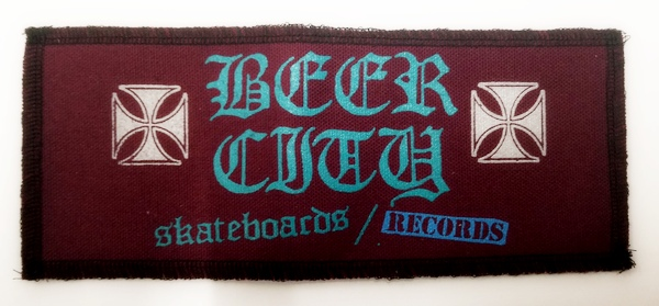 "Beer City Skateboards Large 8.5"" x 3.5"" Patch Oxblood"