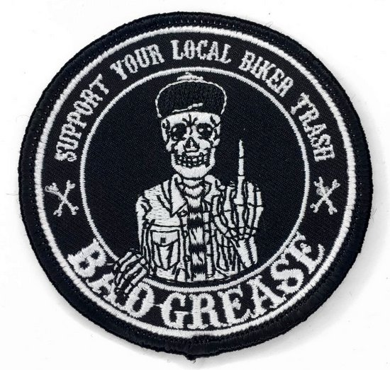"Bad Grease Inc. Support Patch / Black / 3"" Round"