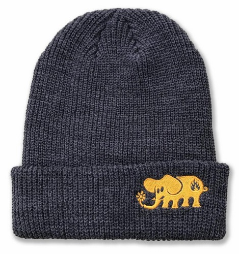 Black Label Elephant Embroidered Beanie Charcoal 227eb7560173