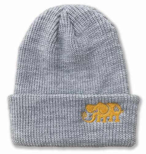Black Label Elephant Embroidered Beanie Gray