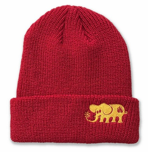 Black Label Elephant Embroidered Beanie Red