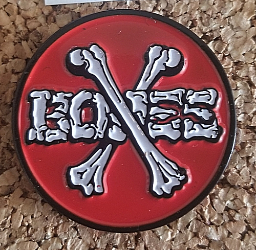 "Bones Classic Cross Bones 1"" Round Push Back Enamel Pin"