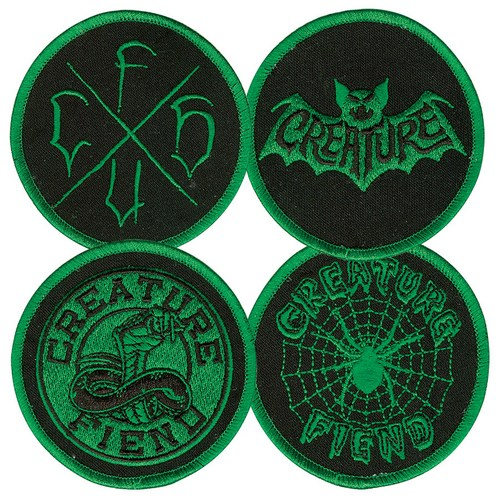 "Creature Fiend Club Patch Set / 4 Pack / Embroidered 4"" Round"