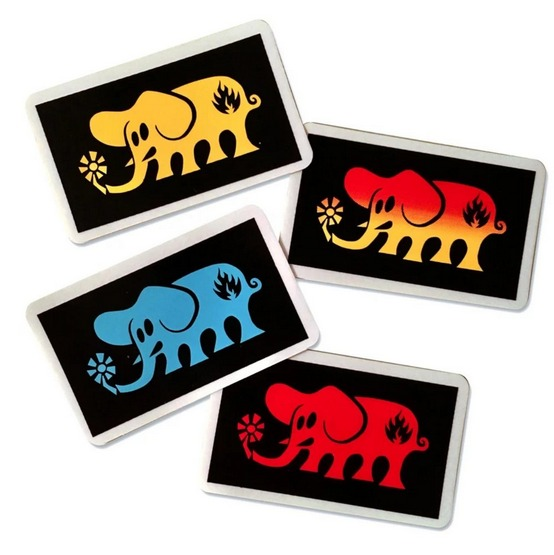 Black Label Elephant Frame Sticker / Blue