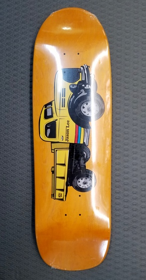 "Folklore Jason Lee Dumptruck Shaped Deck ORANGE Stain 9.5"" - Click Image to Close"