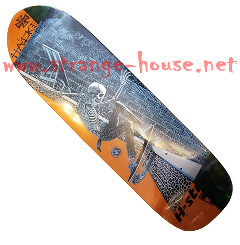 "H-St. Dave Hackett Slasher LG Deck 9.0"" x 32"" Orange/Green Stain - Click Image to Close"