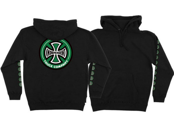 Independent Quatro Pullover Hoodie Black/Green Large