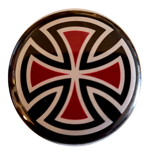 "Independent Cut Cross 1.25"" Button Black"