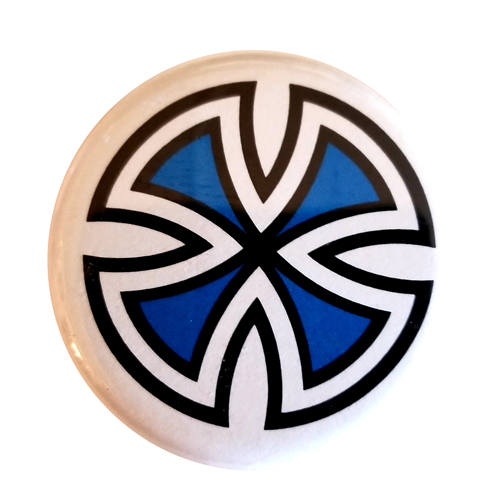 "Independent Cut Cross 1.25"" Button Blue"