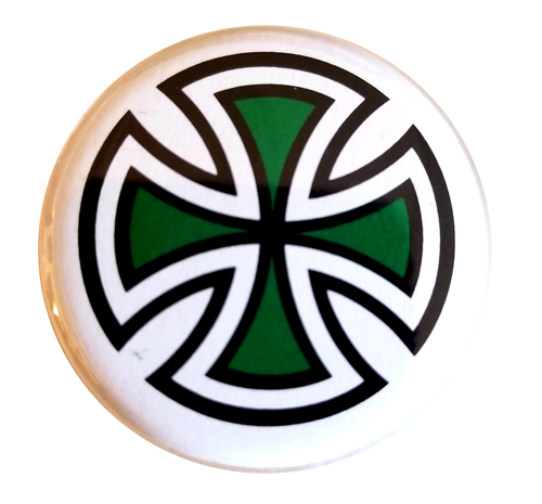 "Independent Cut Cross 1.25"" Button Green"