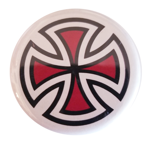 "Independent Cut Cross 1.25"" Button Red"
