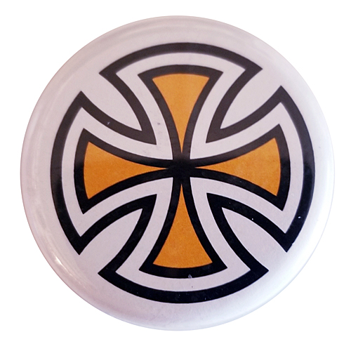 "Independent Cut Cross 1.25"" Button Yellow"