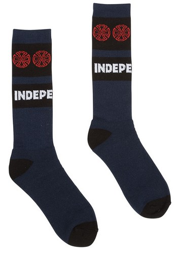 Independent Woven Crosses Mid Crew Socks Navy/Red / 1 Pair