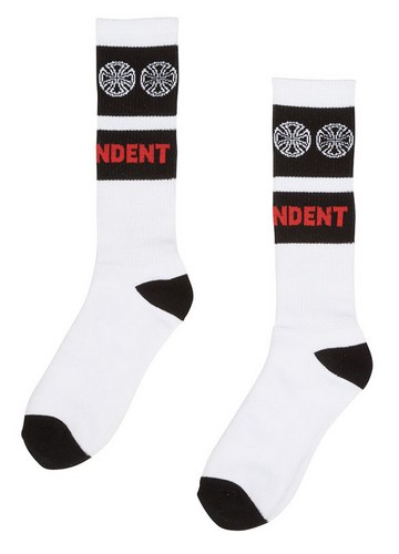 Independent Woven Crosses Mid Crew Socks White / 1 Pair