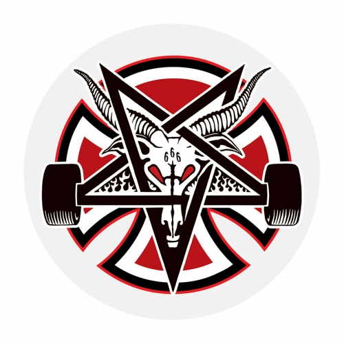 "Independent x Thrasher Pentagram Cross Sticker 2.75"" Round"