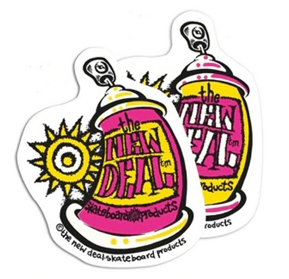 "New Deal Spray Can 3.25"" x 4.25"" Sticker / Pink"