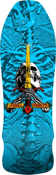 "Powell Peralta Skull and Sword Gee Gah 9.75"" Deck Lt. Blue"