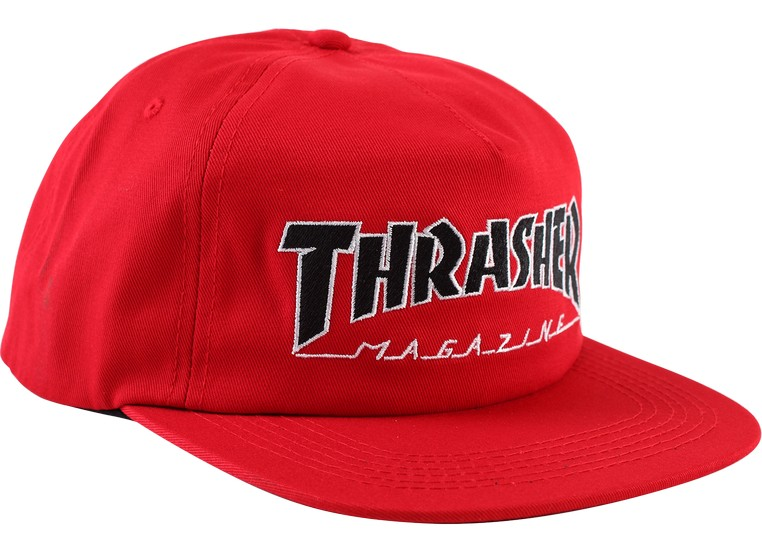 Thrasher Outlined Embroidered Snapback Cap Red / Black