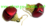 "Bakki Jingle Bells Earrings - Matte Red / Small Pair / 1"" Bells"
