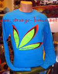 Bakwuds Skateboards Leaf Logo Long Sleeve Shirt Blue / Small