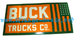 "Buck Trucks Flag Sticker - Green & Orange - 5"" x 2.5"""