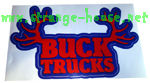 "Buck Trucks Rack Sticker - Blue & Red - 5.25"" x 3.25"""