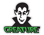 "Creature Vamp Sticker - 2 5/8"" x 3"" on clear mylar"