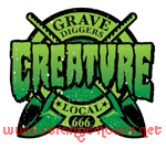 "Creature Grave Diggers Local 3"" x 3"" Decal on Clear Vinyl"