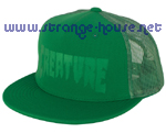Creature Logo Stamp Trucker Mesh Cap - OS - Green on Green