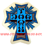 "Dogtown 4"" Tall Blue Cross Sticker / Clear Vinyl"