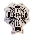 "Dogtown 4"" Tall Black / White Cross Sticker / White Vinyl"