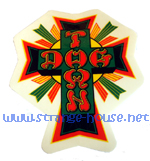 "Dogtown 4"" Tall Rasta Cross Sticker / Clear Vinyl"