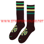 Independent Colored Stripes Crew Socks Black / Green - 2 Pair