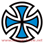 "Independent Cut Cross 4"" Round Sticker Blue"