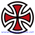 "Independent Cut Cross 2"" Round Sticker Red"