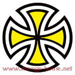 "Independent Cut Cross 2"" Round Sticker Yellow"