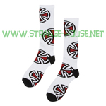 Independent Crosses Tall Socks White - Single Pair