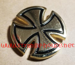 "Independent Metallic Cross Push Back Gold Pin 1"" Round"