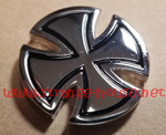 "Independent Metallic Cross Push Back Silver Pin 1"" Round"