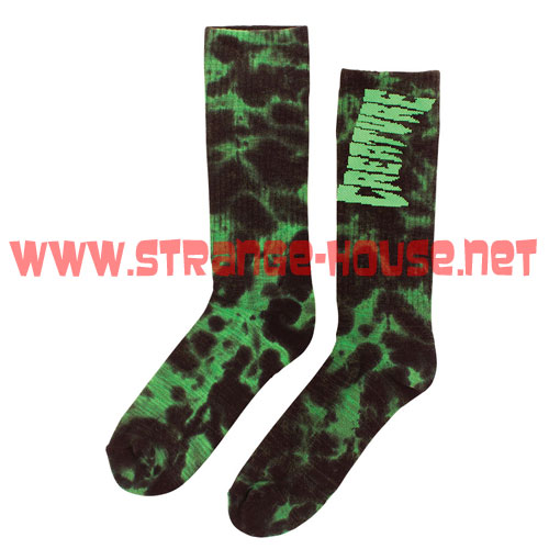 Creature Toxsocks Crew Socks - 2 Pair / Black & Green Tie Dye - Click Image to Close