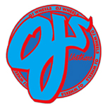 "OJ Wheels 3"" Round Sticker Blue / Red"