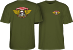 Powell Peralta Winged Ripper T-Shirt - Army / Large