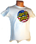 Santa Cruz 4th of July Fitted White T-Shirt Women Large