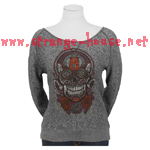 Santa Cruz Sugar Skull Wideneck Crew L/S Sweatshirt Black - MD