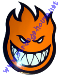 "Spitfire Fireball Large 11.5"" Tall Orange Sticker"