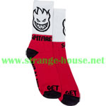Spitfire Hombre Crew Socks / Single Pair / Red, White & Black