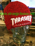Thrasher Embroidered Logo Beanie Heather Red / White